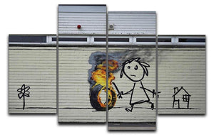 Banksy Burning Tyre 4 Split Panel Canvas  - Canvas Art Rocks - 1