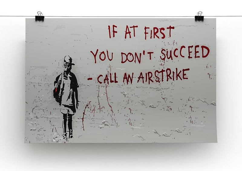Banksy Call An Airstrike Canvas Print or Poster - Canvas Art Rocks - 2