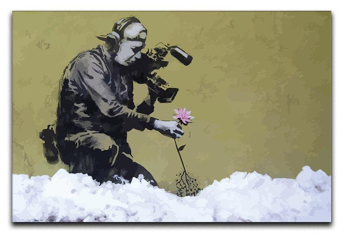 Banksy Cameraman and Flower Canvas Print or Poster