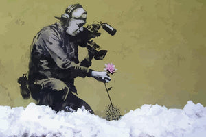 Banksy Cameraman and Flower Wall Mural Wallpaper - Canvas Art Rocks - 1