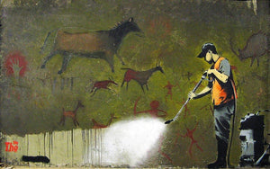 Banksy Cave Graffiti Removal Wall Mural Wallpaper - Canvas Art Rocks - 1