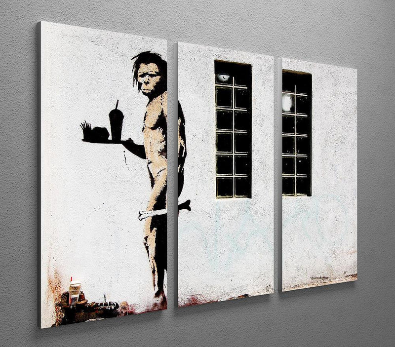 Banksy Caveman Takeaway 3 Split Panel Canvas Print - US Canvas Art Rocks