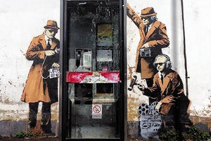 Banksy Cheltenham Telephone Box Spies Wall Mural Wallpaper - Canvas Art Rocks - 1