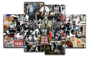 Banksy Collage 4 Split Panel Canvas  - Canvas Art Rocks - 1