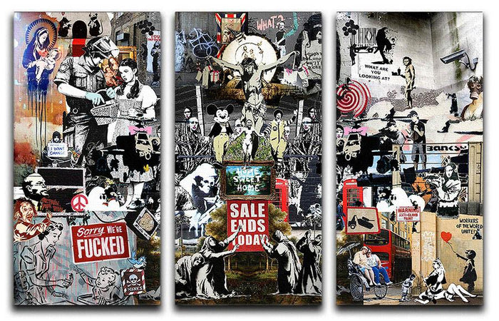 Banksy Collage 3 Split Panel Canvas Print