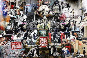 Banksy Collage Wall Mural Wallpaper - Canvas Art Rocks - 1