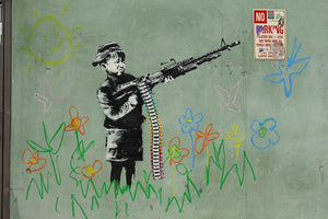 Banksy Crayon Child Soldier Wall Mural Wallpaper - Canvas Art Rocks - 1