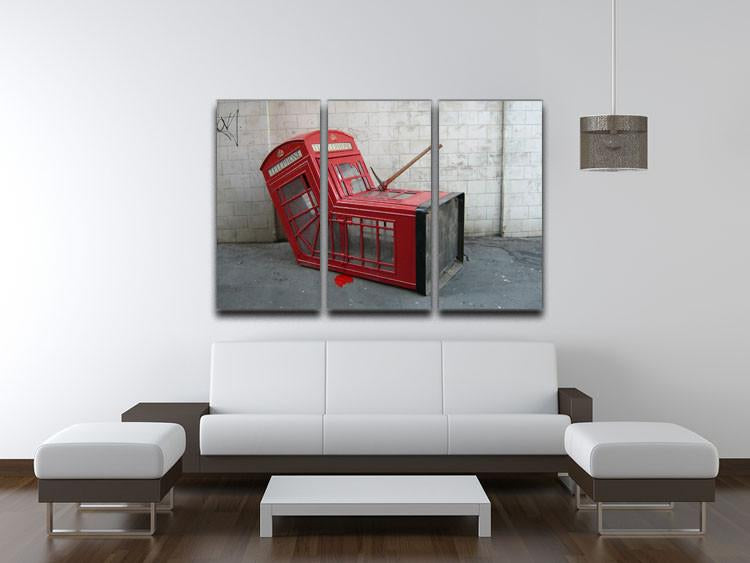 Banksy Death of a Phone Booth 3 Split Panel Canvas Print - US Canvas Art Rocks