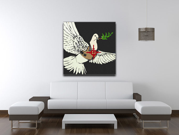 Banksy Dove in a Bulletproof Vest Canvas Print & Poster - US Canvas Art Rocks