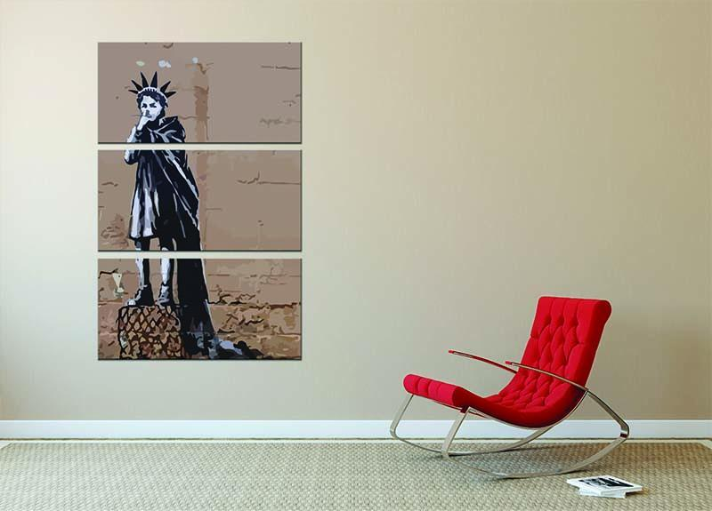 Banksy Empire State Kid 3 Split Panel Canvas Print - Canvas Art Rocks - 2