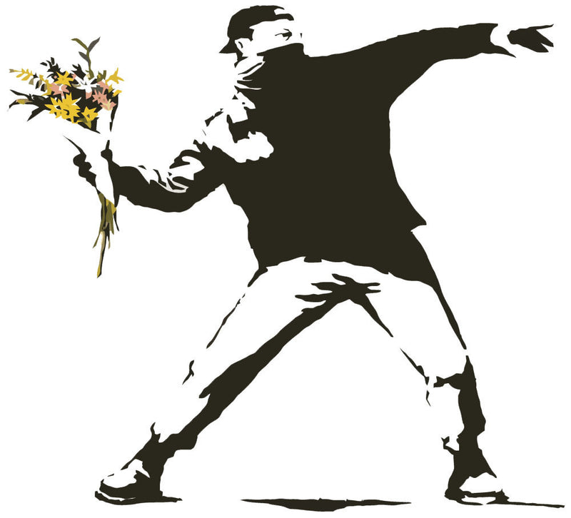 Banksy Flower Thrower Wall Decal - US Canvas Art Rocks