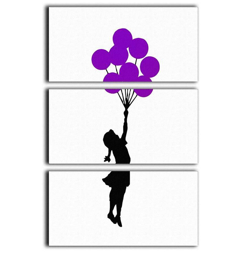 Banksy Flying Balloon Girl 3 Split Panel Canvas Print - Canvas Art Rocks - 1