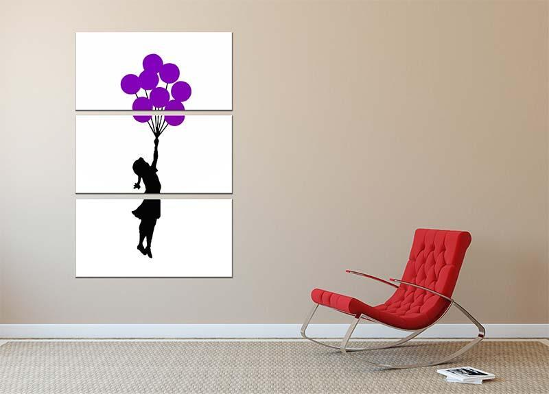 Banksy Flying Balloon Girl 3 Split Panel Canvas Print - Canvas Art Rocks - 2
