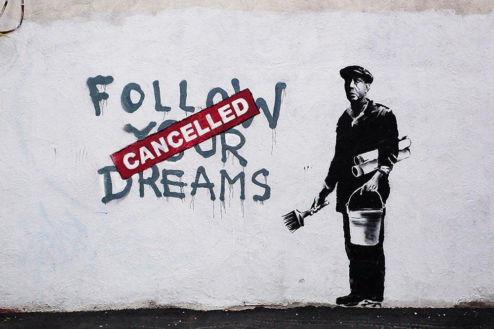Canvas Picture Canvas Print Wall Art Banksy Follow Your Dreams NR 3021