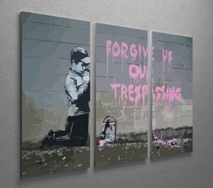 Banksy Forgive Us 3 Split Panel Canvas Print - Canvas Art Rocks
