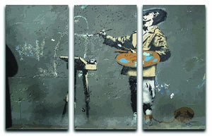 Banksy French Painter 3 Split Panel Canvas Print - Canvas Art Rocks - 1