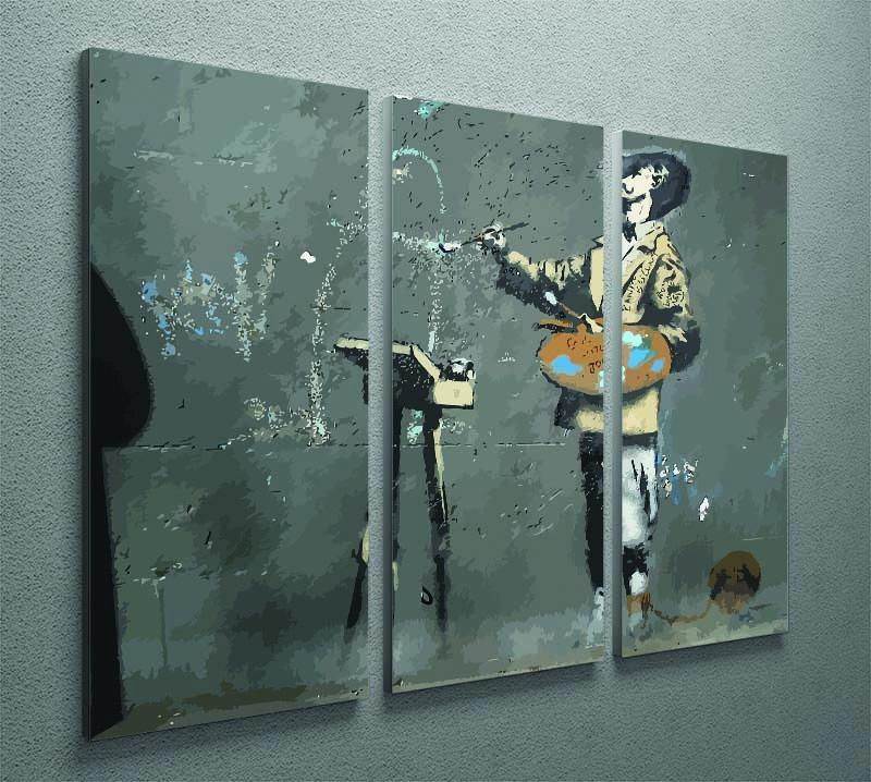 Banksy French Painter 3 Split Panel Canvas Print - Canvas Art Rocks - 2