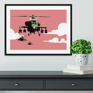 Banksy Friendly Helicopters Framed Print - Canvas Art Rocks - 1