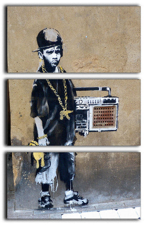 Banksy Gangster Boy with Ghetto Blaster 3 Split Panel Canvas Print - US Canvas Art Rocks