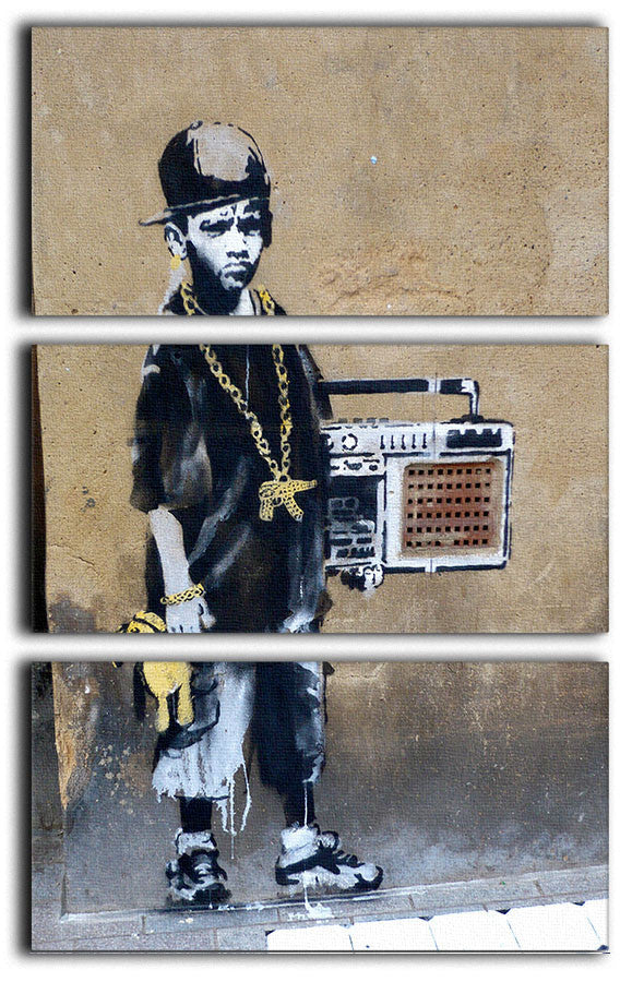 Banksy Gangster Boy with Ghetto Blaster 3 Split Panel Canvas Print