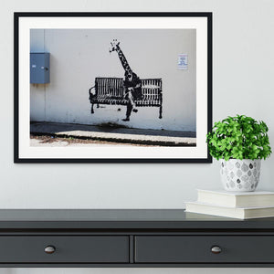 Banksy Giraffe on a Bench Framed Print - Canvas Art Rocks - 1