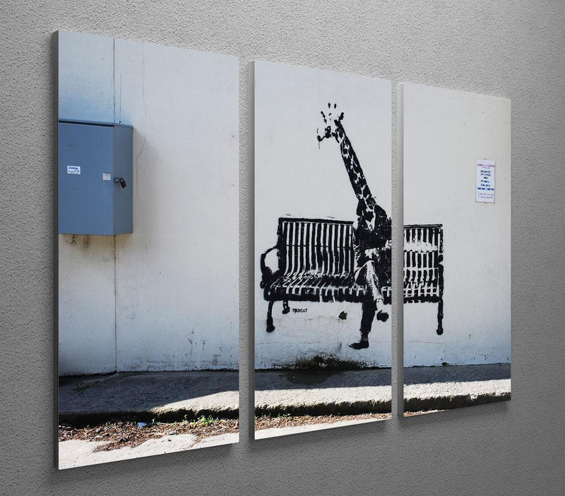 Banksy Giraffe on a Bench 3 Split Canvas Print - US Canvas Art Rocks