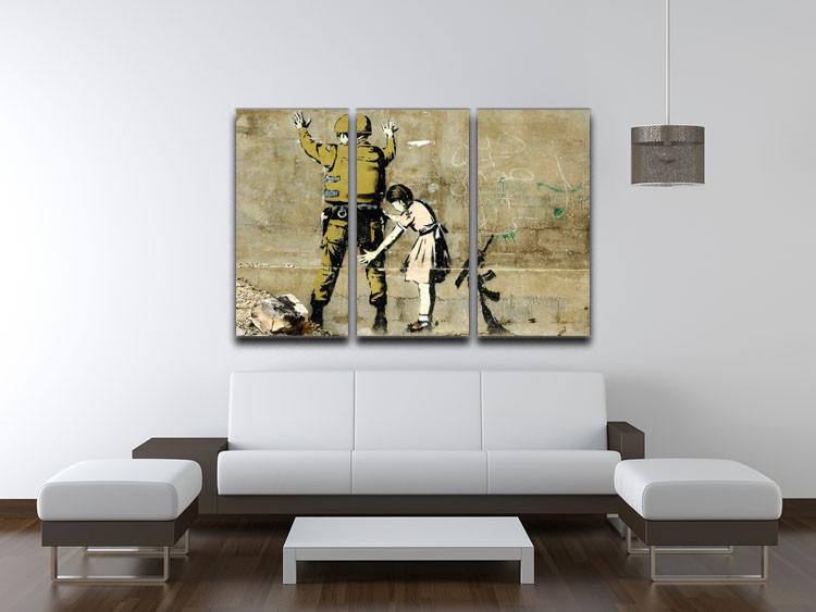 Banksy Girl and Soldier 3 Split Canvas Print - US Canvas Art Rocks