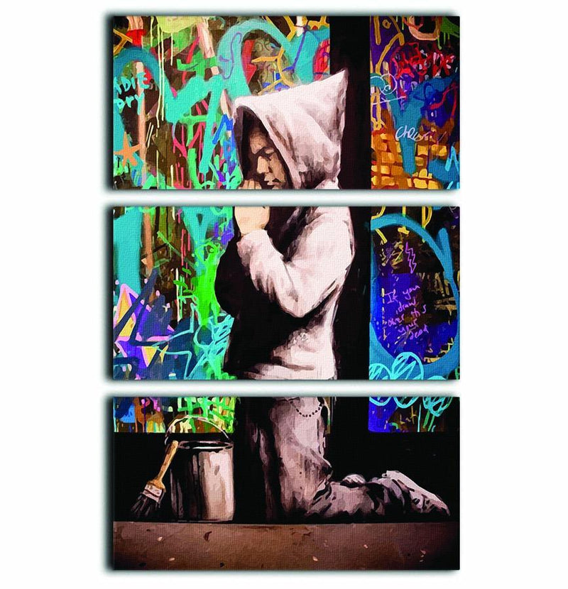 Banksy Graffiti Pray 3 Split Panel Canvas Print - Canvas Art Rocks - 1