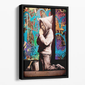 Banksy Graffiti Pray Floating Framed Canvas