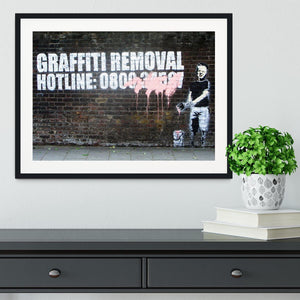 Banksy Graffiti Removal Hotline Framed Print - Canvas Art Rocks - 1