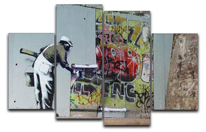Banksy Graffiti Wallpaper 4 Split Panel Canvas  - Canvas Art Rocks - 1