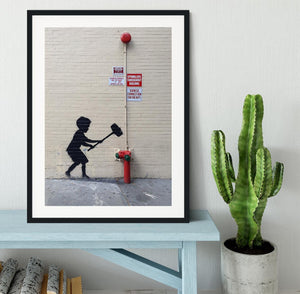 Banksy Hammer Boy Framed Print - Canvas Art Rocks - 1