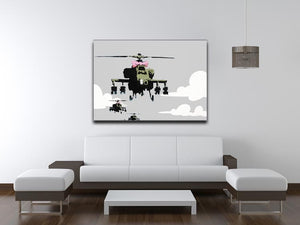 Banksy Friendly Helicopters Print - Canvas Art Rocks - 4