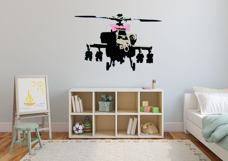 Banksy Helicopter Wall Decal - US Canvas Art Rocks