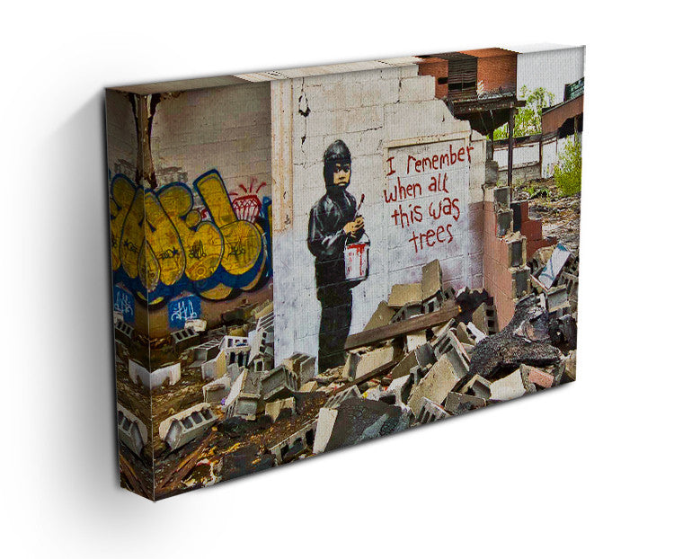 Banksy I Remember When All This Was Trees Print - Canvas Art Rocks - 3