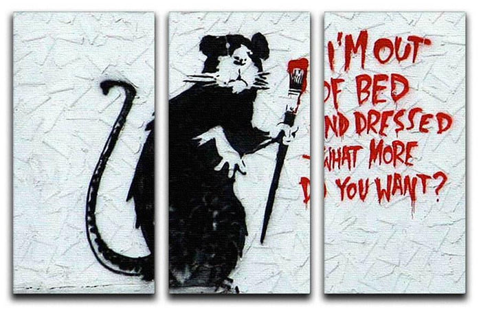 Banksy I'm Out Of Bed And Dressed 3 Split Canvas Print