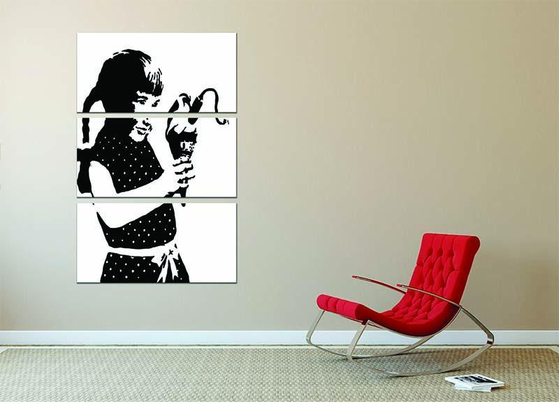 Banksy Ice Cream Bomb 3 Split Panel Canvas Print - Canvas Art Rocks - 2