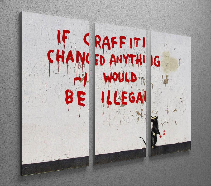Banksy If Graffiti Changed Anything 3 Split Panel Canvas Print - US Canvas Art Rocks