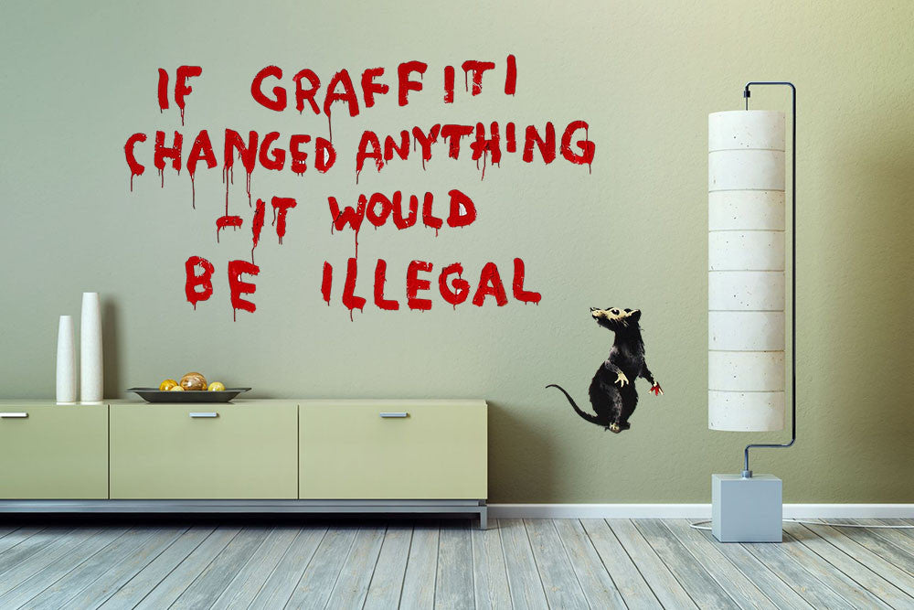 Banksy If Graffiti Changed Anything Wall Decal - US Canvas Art Rocks ... & Banksy If Graffiti Changed Anything Wall Decal | Canvas Art Rocks