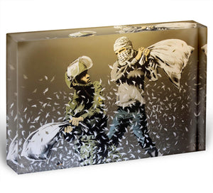 Banksy Israeli and Palestinian Pillow Fight Acrylic Block