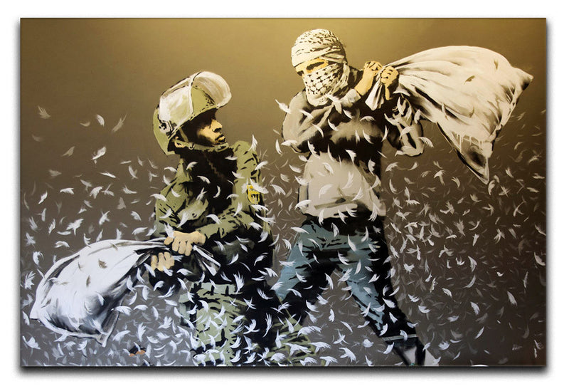 Banksy Israeli & Palestinian Pillow Fight Canvas Print & Poster - US Canvas Art Rocks