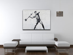 Banksy Javelin Thrower Print - Canvas Art Rocks - 4