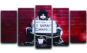 Banksy Keep Your Coins 5 Split Panel Canvas  - Canvas Art Rocks - 1