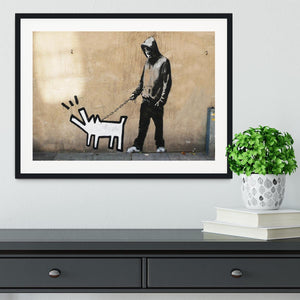 Banksy Keith Haring Dog Framed Print - Canvas Art Rocks - 1