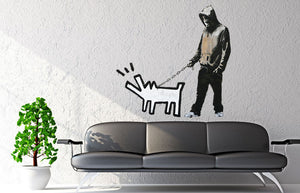 Banksy Keith Haring Dog Wall Decal - US Canvas Art Rocks