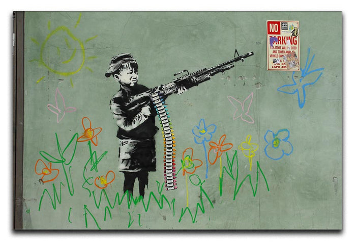 Banksy Crayon Child Soldier Canvas Print or Poster