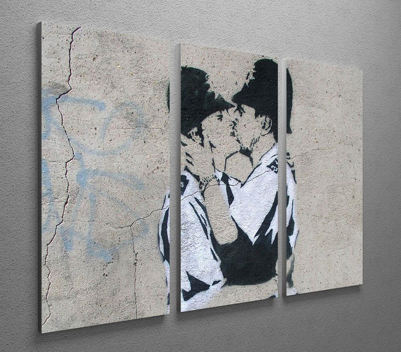 Banksy Kissing Policemen 3 Split Canvas Print - US Canvas Art Rocks