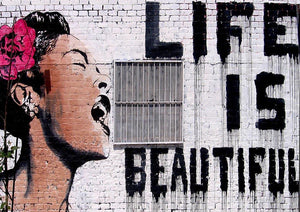 Banksy Life Is Beautiful - Version 2 Wall Mural Wallpaper - Canvas Art Rocks - 1