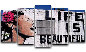 Banksy Life is Beautiful 5 Split Panel Canvas  - Canvas Art Rocks - 1