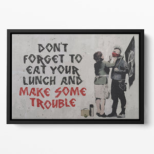Banksy Make Some Trouble Floating Framed Canvas